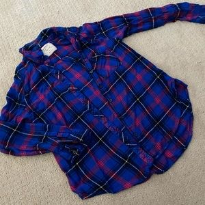 Blue and hot pink light weight flannel